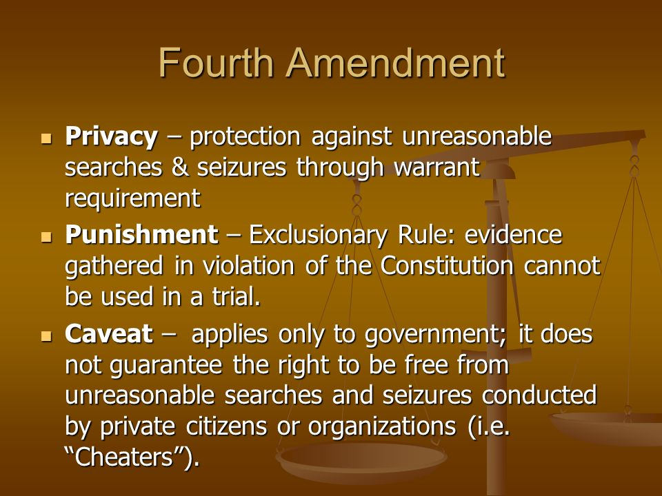 Fourth Amendment Privacy – protection against unreasonable searches & seizures through warrant requirement.