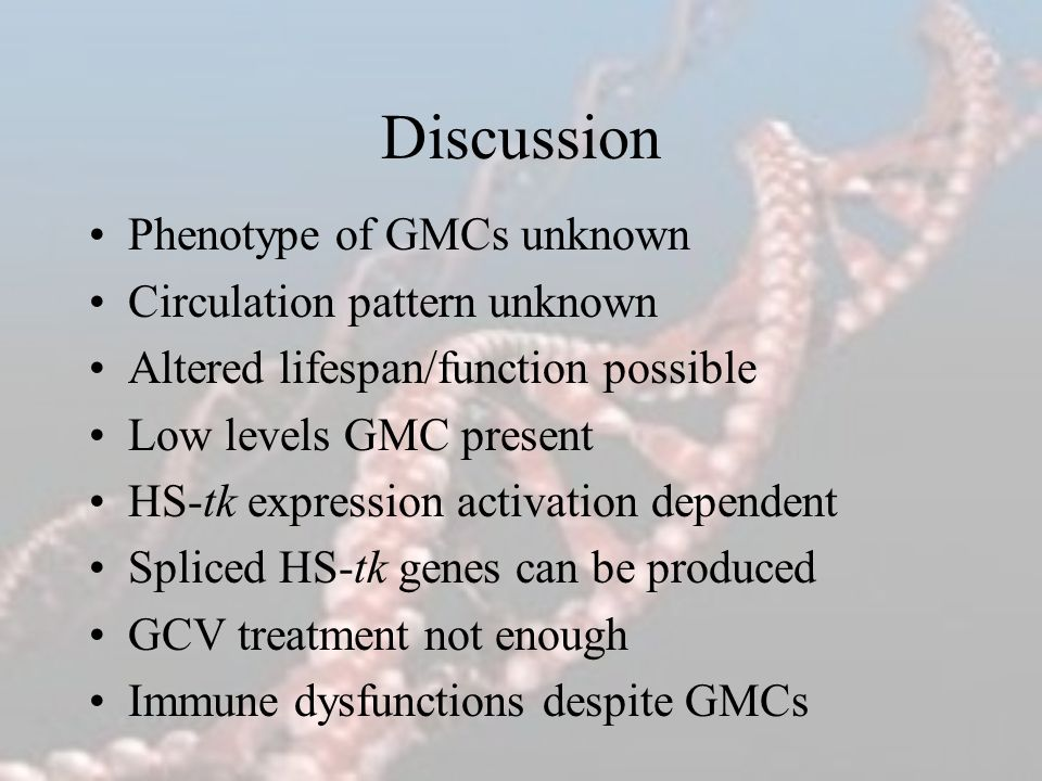 Discussion Phenotype of GMCs unknown Circulation pattern unknown