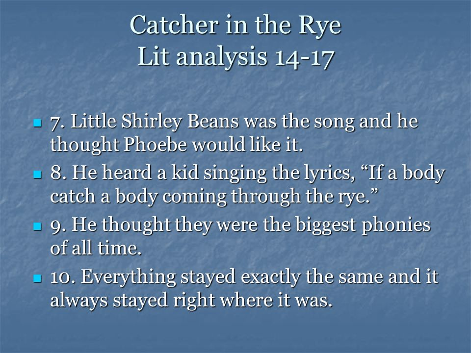 song lyrics related to catcher in the rye