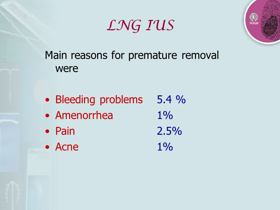 LNG IUS Main reasons for premature removal were