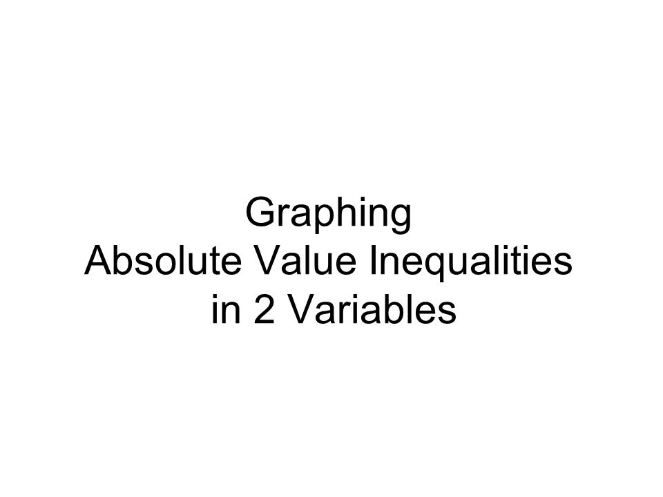 Graphing Absolute Value Inequalities in 2 Variables