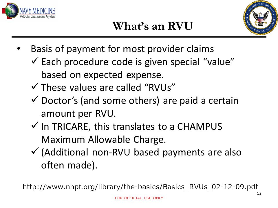 What's an RVU Basis of payment for most provider claims