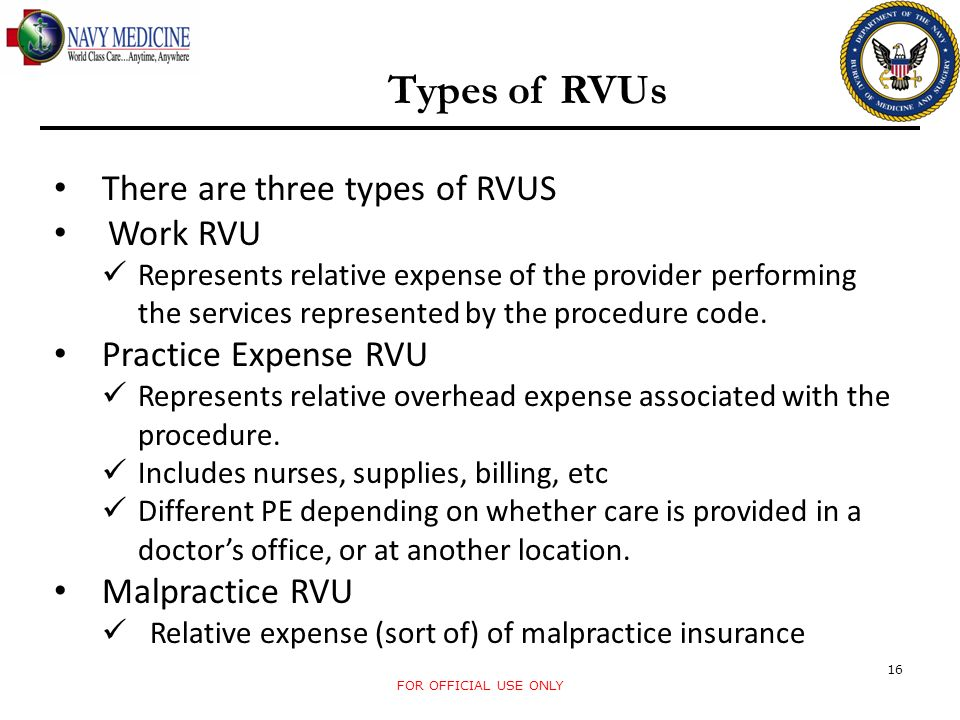 Types of RVUs There are three types of RVUS Work RVU