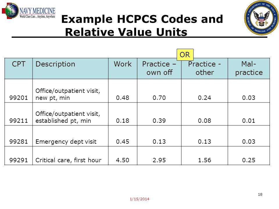 Example HCPCS Codes and Relative Value Units