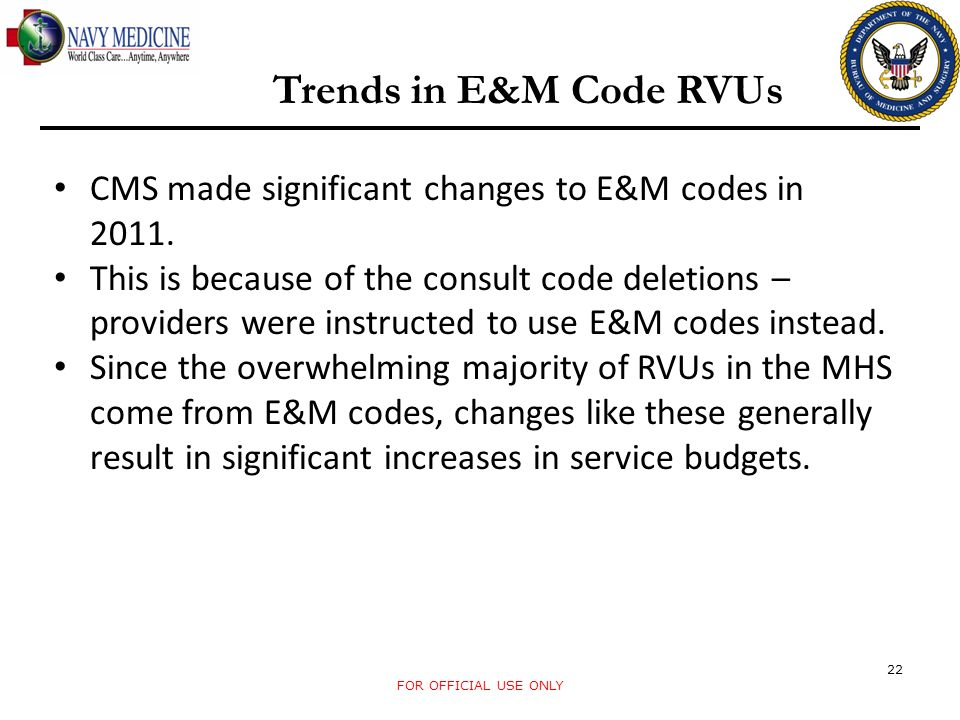 Trends in E&M Code RVUs CMS made significant changes to E&M codes in 2011.