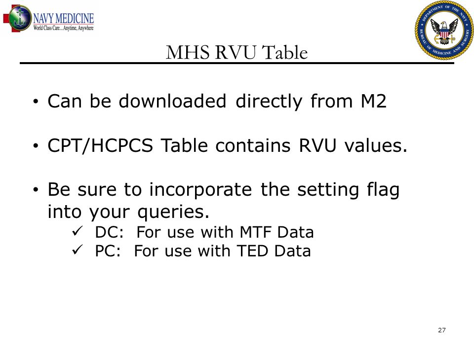 MHS RVU Table Can be downloaded directly from M2