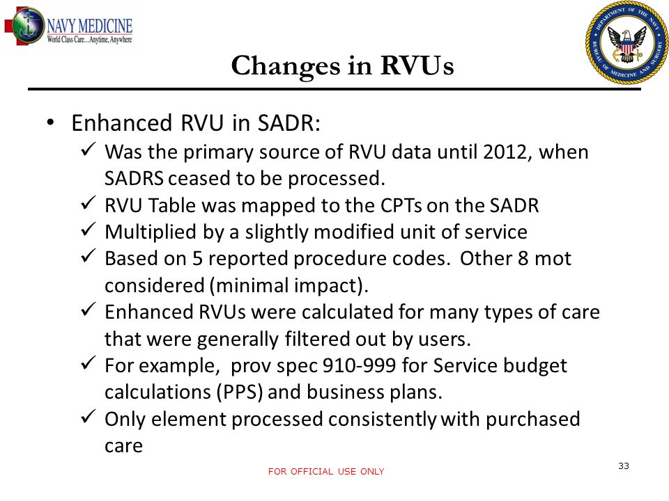 Changes in RVUs Enhanced RVU in SADR: