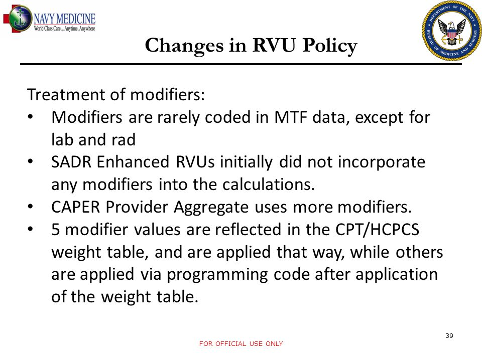 Changes in RVU Policy Treatment of modifiers: