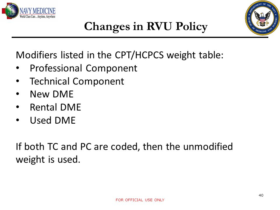 Changes in RVU Policy Modifiers listed in the CPT/HCPCS weight table: