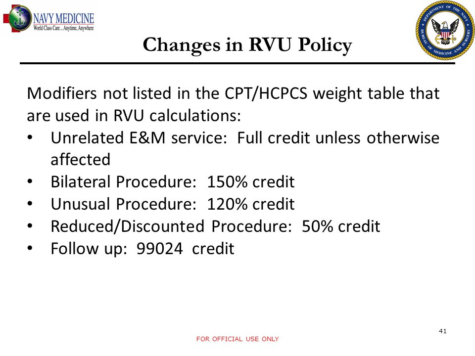 Changes in RVU Policy Modifiers not listed in the CPT/HCPCS weight table that are used in RVU calculations: