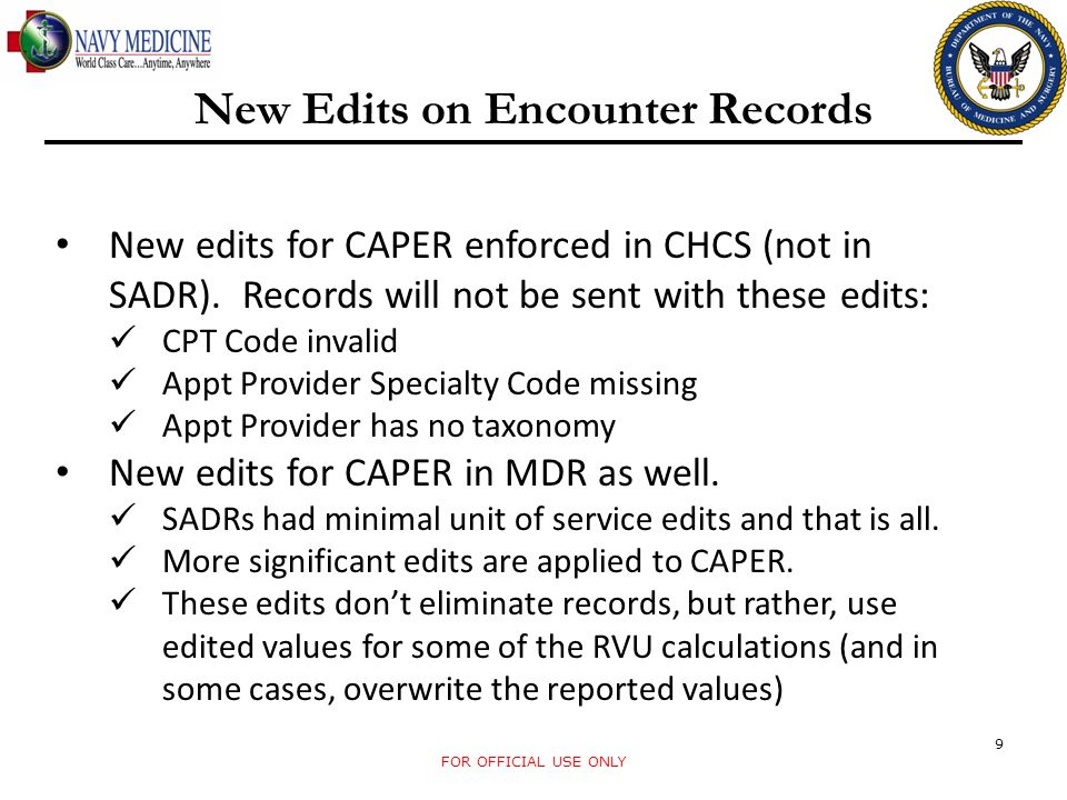 New Edits on Encounter Records