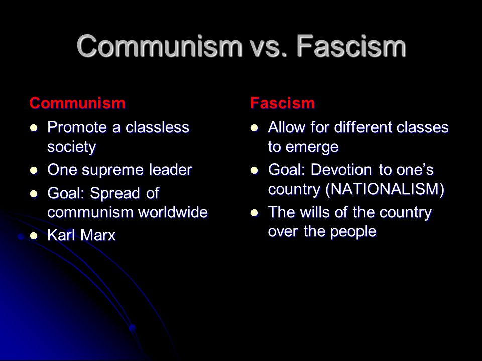 Communism vs. Fascism Communism Fascism Promote a classless society