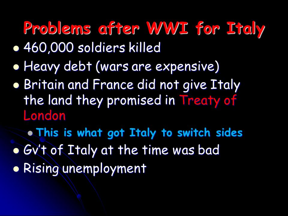 Problems after WWI for Italy