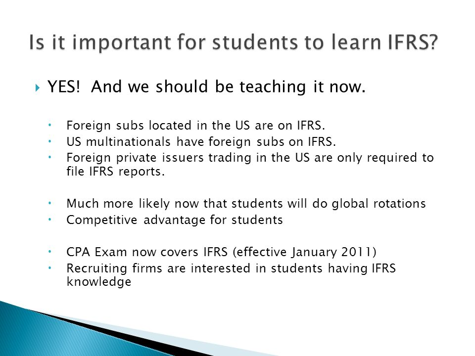 Is it important for students to learn IFRS