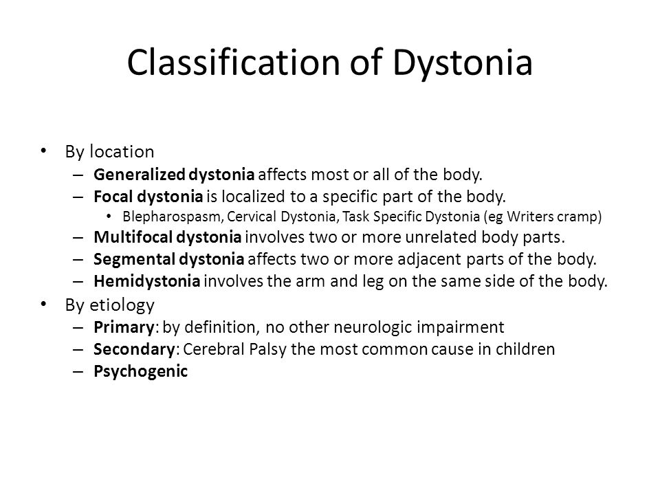 Classification of Dystonia