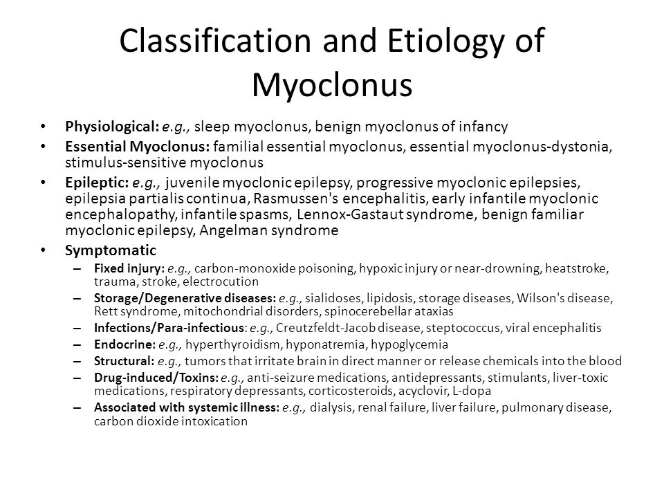 Classification and Etiology of Myoclonus