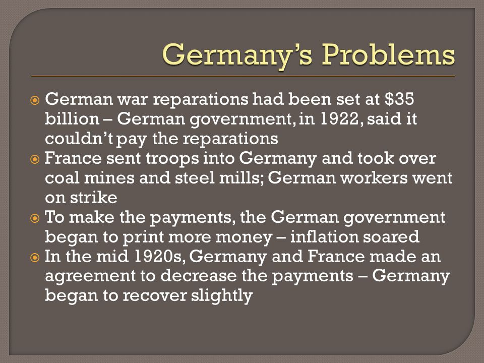 Germany's Problems German war reparations had been set at $35 billion – German government, in 1922, said it couldn't pay the reparations.