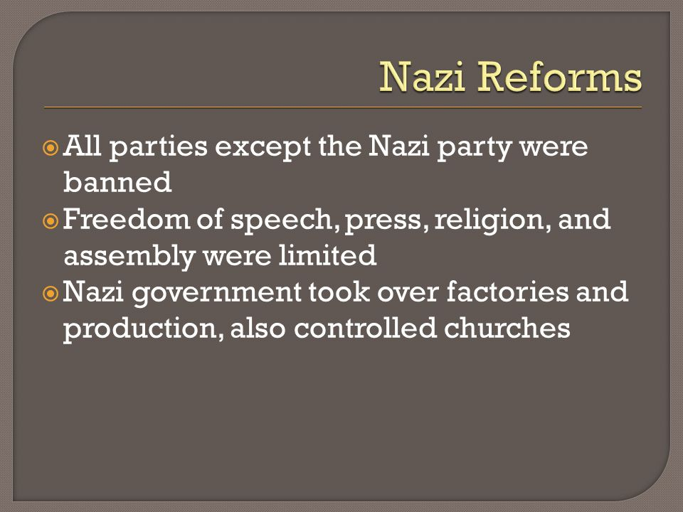 Nazi Reforms All parties except the Nazi party were banned