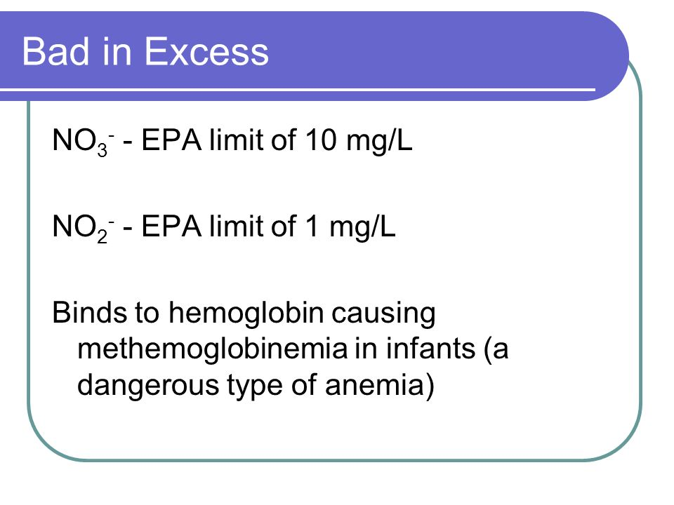 Bad in Excess NO3- - EPA limit of 10 mg/L NO2- - EPA limit of 1 mg/L