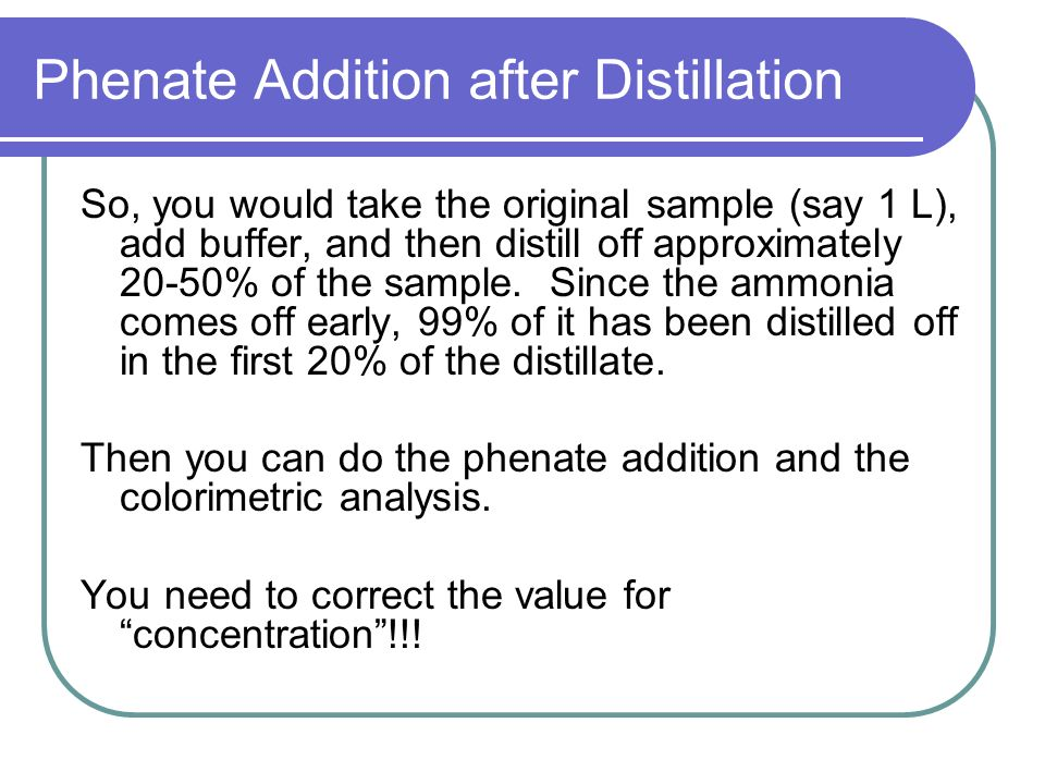 Phenate Addition after Distillation