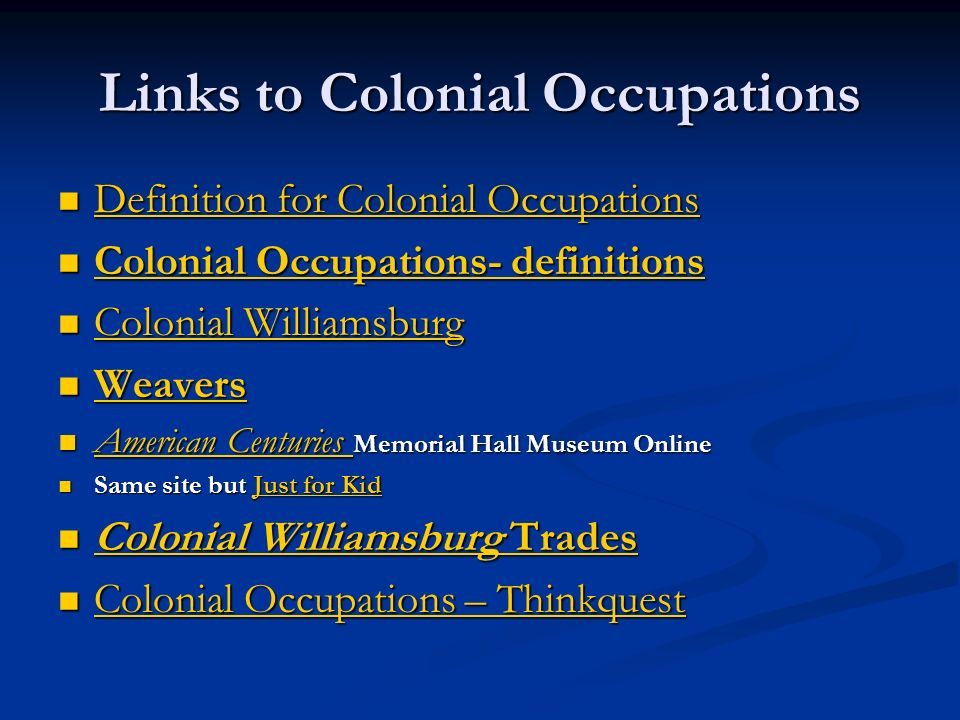 Links to Colonial Occupations