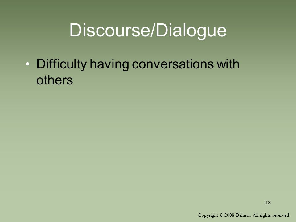 Discourse/Dialogue Difficulty having conversations with others