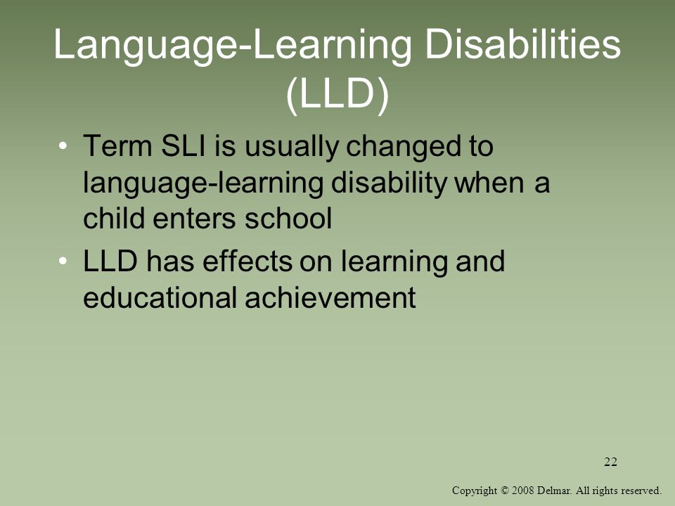 Language-Learning Disabilities (LLD)