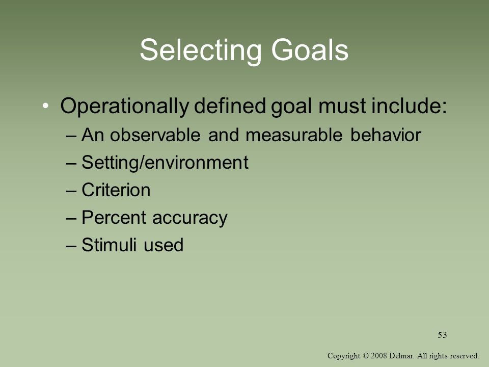 Selecting Goals Operationally defined goal must include: