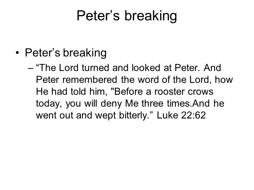 Peter's breaking Peter's breaking