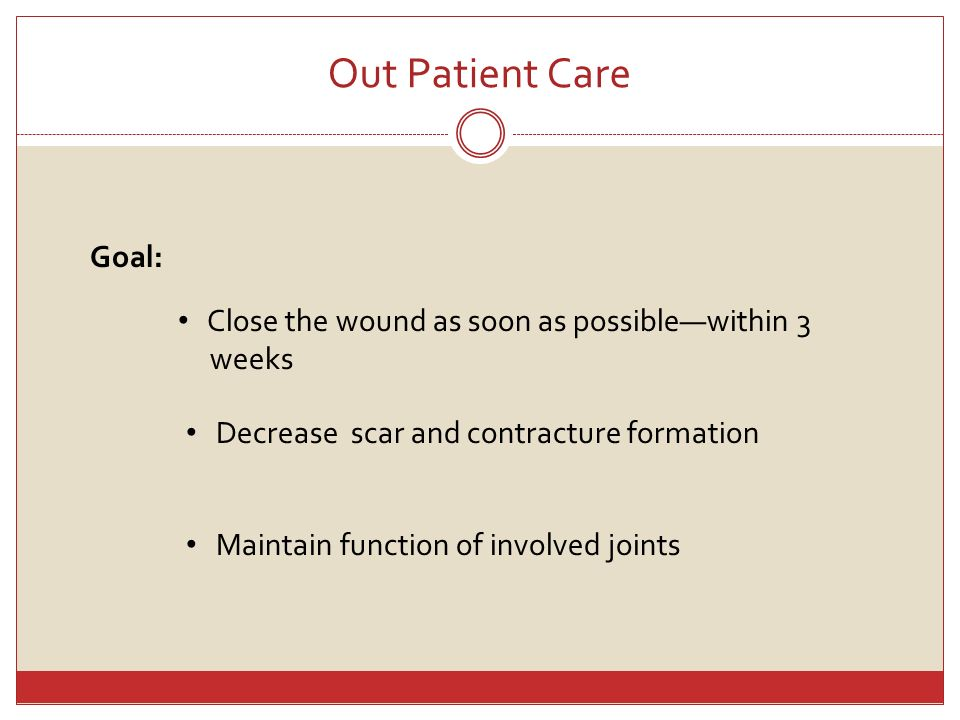 Out Patient Care Goal: Close the wound as soon as possible—within 3
