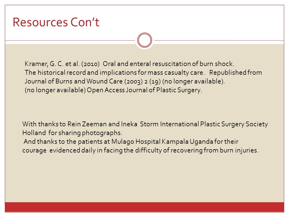 Resources Con't Kramer, G. C. et al. (2010) Oral and enteral resuscitation of burn shock.