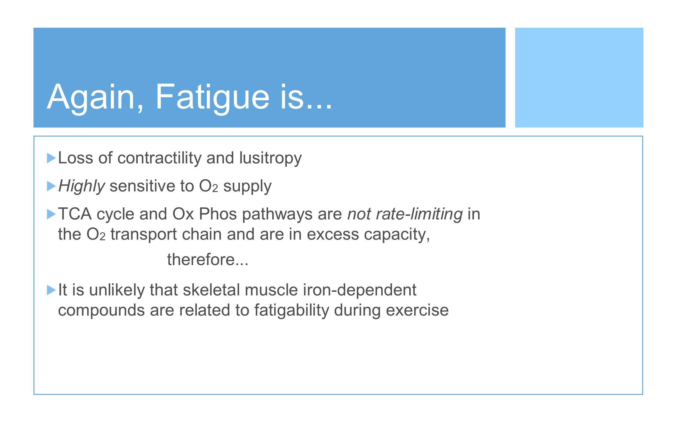 Again, Fatigue is... Loss of contractility and lusitropy