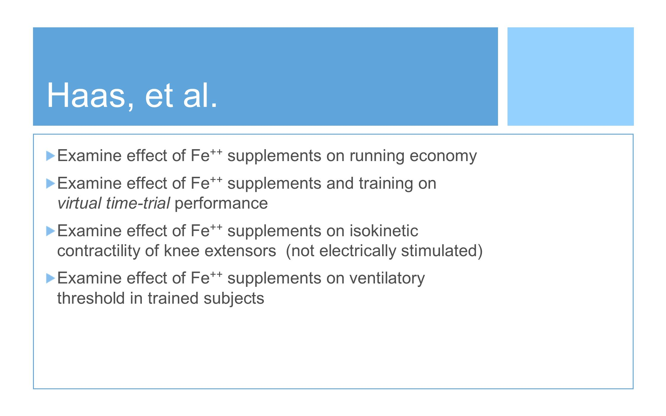 Haas, et al. Examine effect of Fe++ supplements on running economy