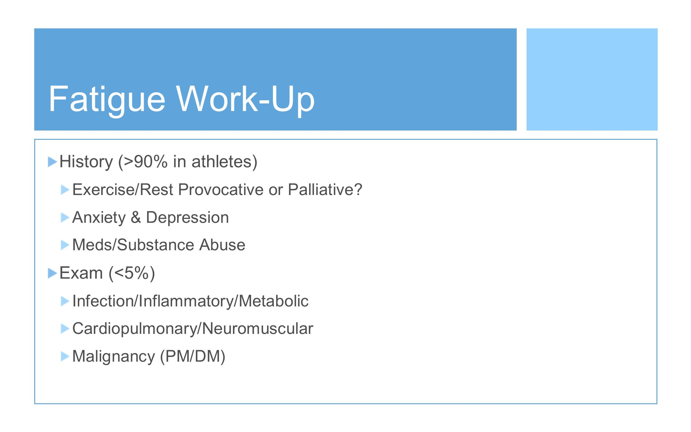 Fatigue Work-Up History (>90% in athletes) Exam (<5%)