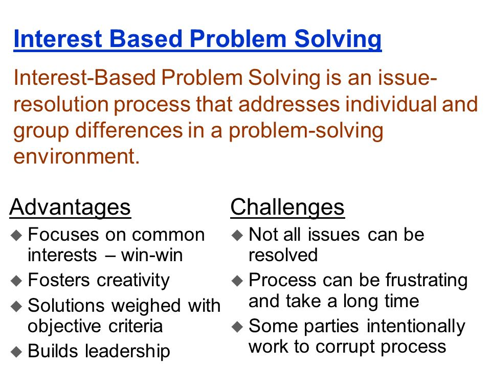Interest Based Problem Solving