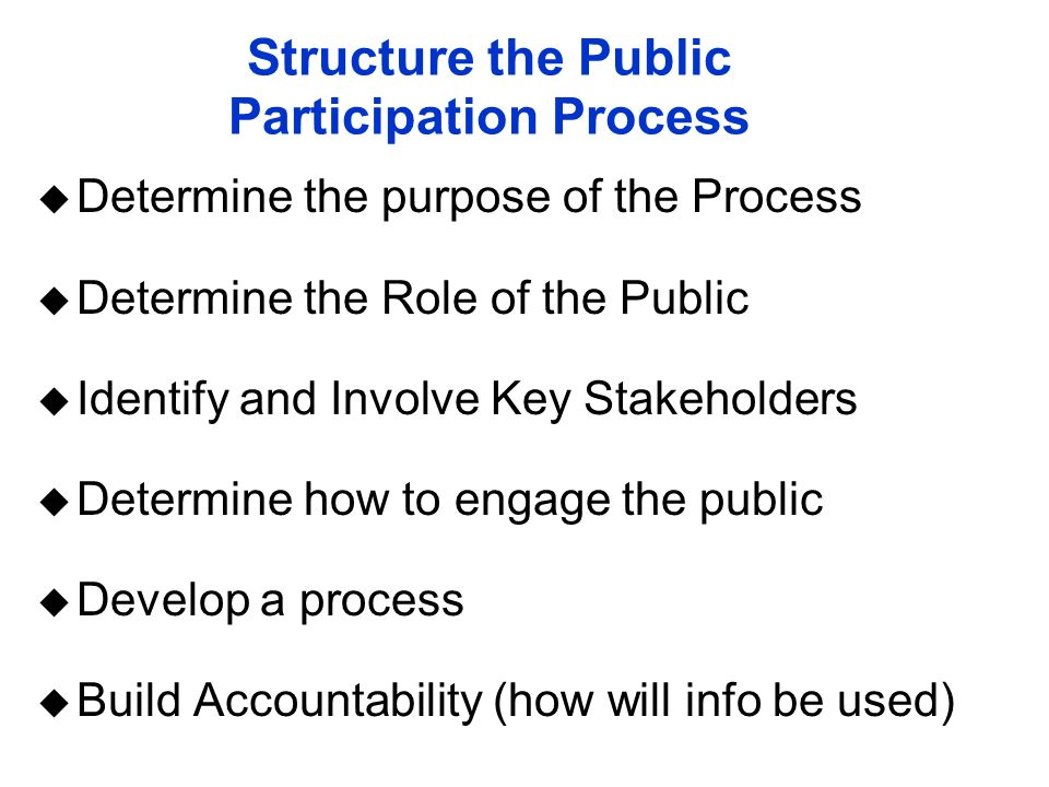 Structure the Public Participation Process