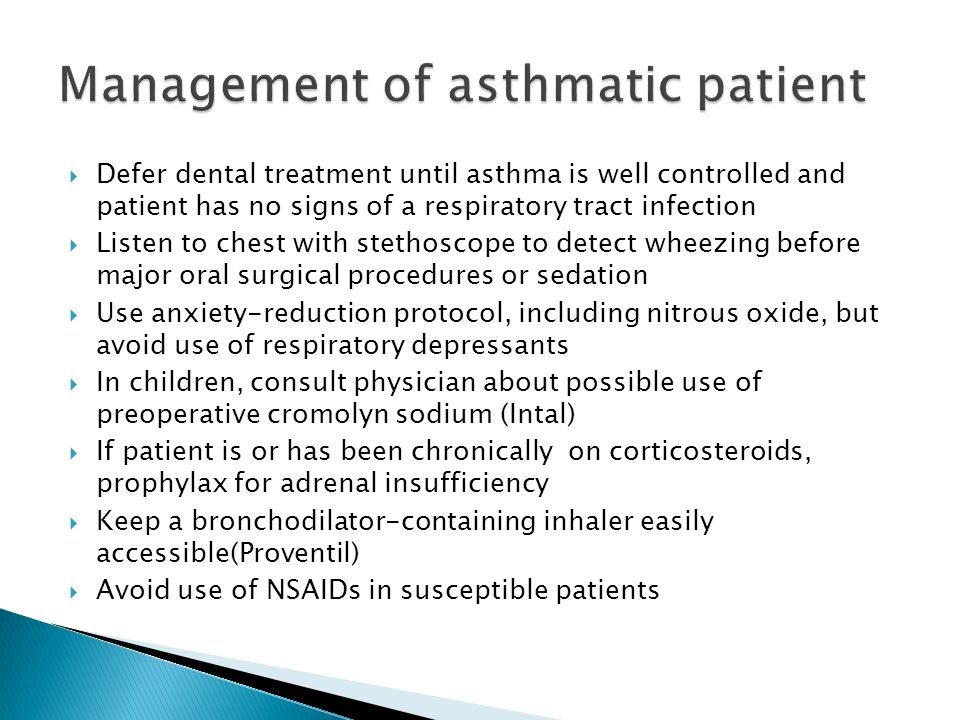 Management of asthmatic patient