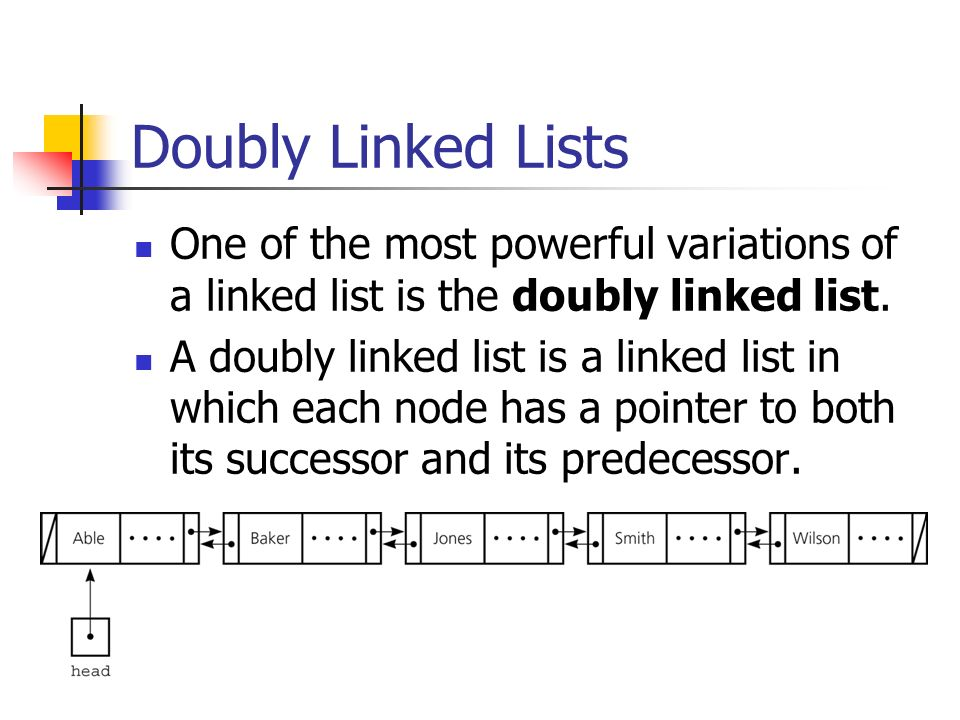 Doubly Linked Lists One of the most powerful variations of a linked list is the doubly linked list.