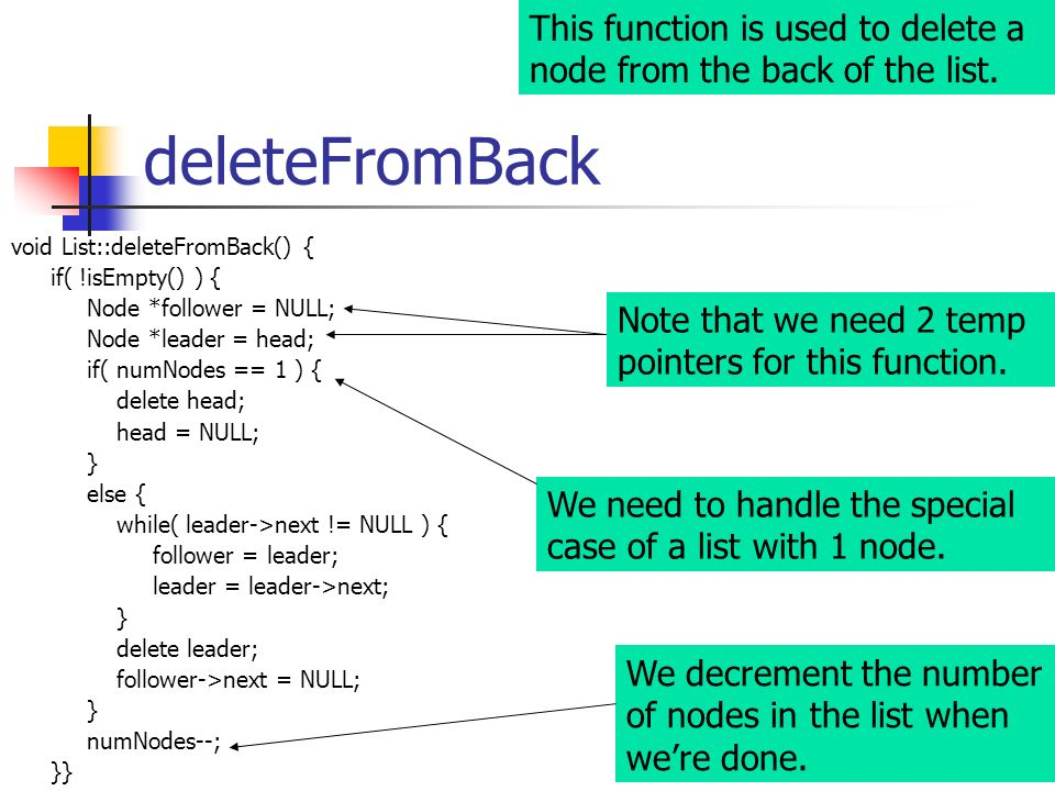 This function is used to delete a node from the back of the list.