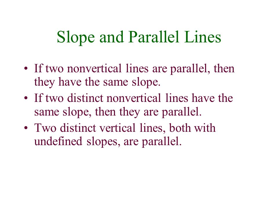 Slope and Parallel Lines