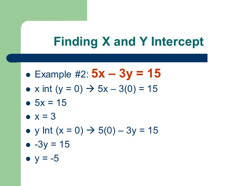 Finding X and Y Intercept