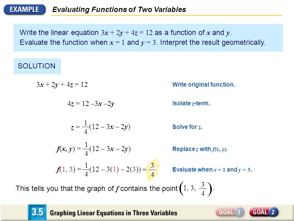 ( ) Evaluating Functions of Two Variables