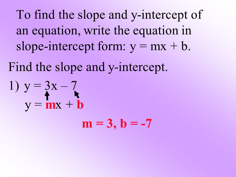 To find the slope and y-intercept of an equation, write the equation in slope-intercept form: y = mx + b.