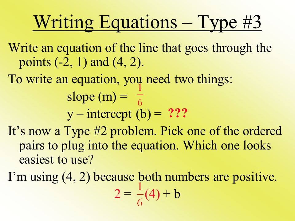 Writing Equations – Type #3