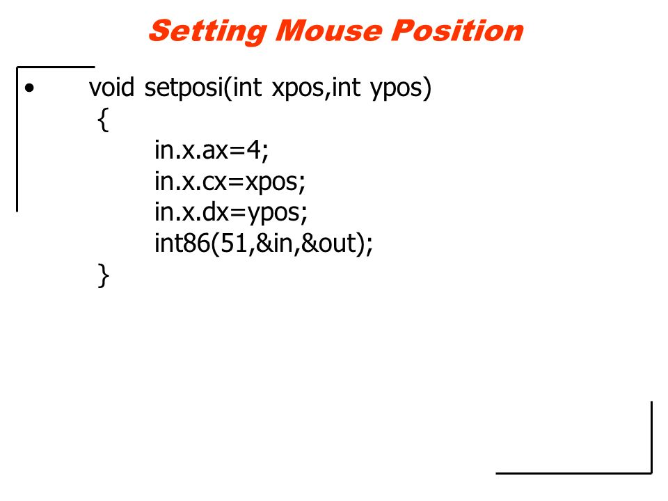 Setting Mouse Position