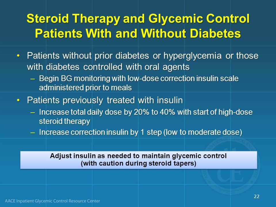 Steroid Therapy and Glycemic Control Patients With and Without Diabetes
