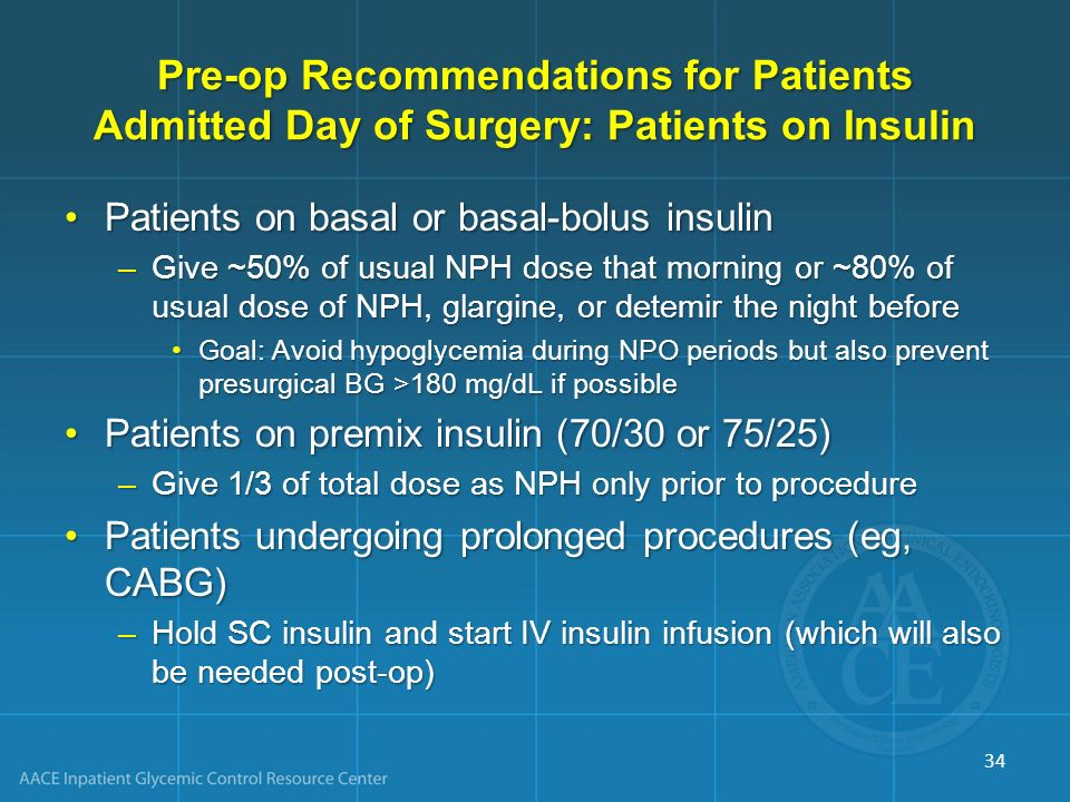 Pre-op Recommendations for Patients Admitted Day of Surgery: Patients on Insulin
