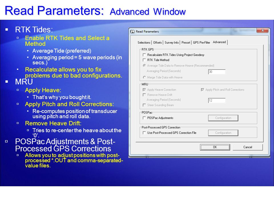 Read Parameters: Advanced Window