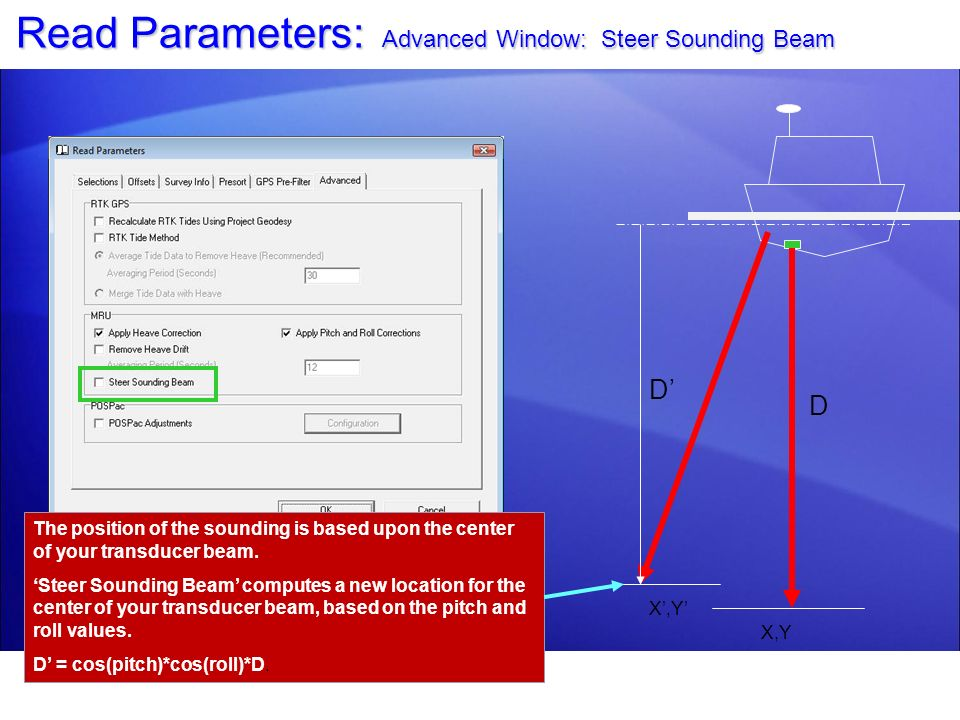 Read Parameters: Advanced Window: Steer Sounding Beam