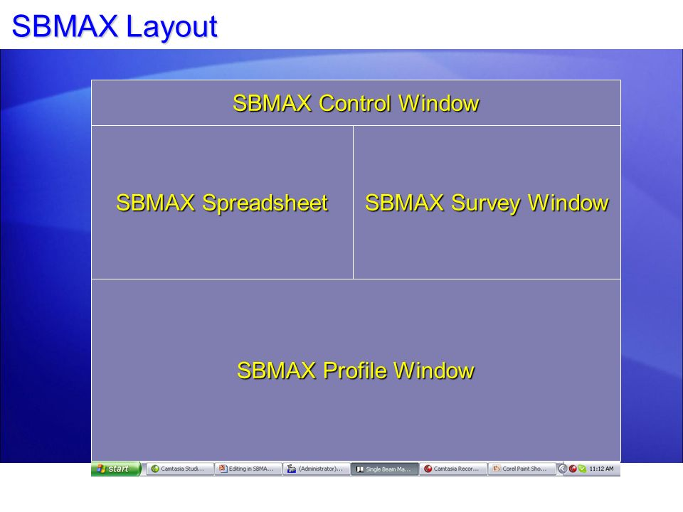 SBMAX Layout SBMAX Control Window SBMAX Spreadsheet